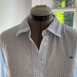 Vineyard Vines lt blue gingham buttoned shirt Sz10